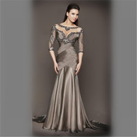 3/4 Sleeves Silver Scoop Illusion Beading Pleat Sheath Mother of The Bride Dresses Plus Size Groom Godmother Evening Dresses