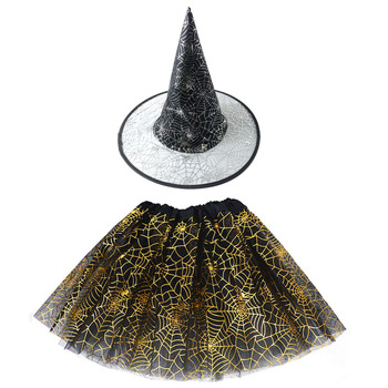 Halloween Costume for Kids Girls Spider Web Tutu Cobweb Skirt Witch Wizard Hat Tulle Carnival Birthday Party Outfits