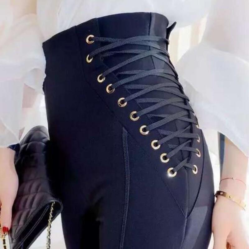 Haut printemps nouveau à lacets conception taille haute pantalon femmes crayon pantalon pantalons Mujer femmes Calcas Femininas