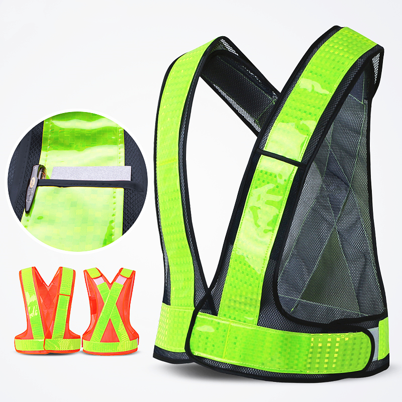 Universal V Shape Reflective Safety Vest High Visibility Safe Waistcoat Traffic Construction Worker Protective Clothes Free Logo