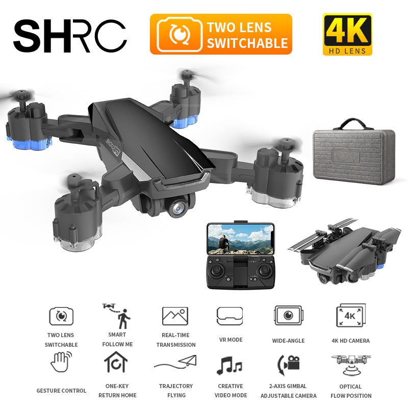 SHRC H3 GPS RC Drone with 4K HD Camera Quadcopter WIFI FPV With 50 Times Zoom Foldable Helicopter Professional Drones toys