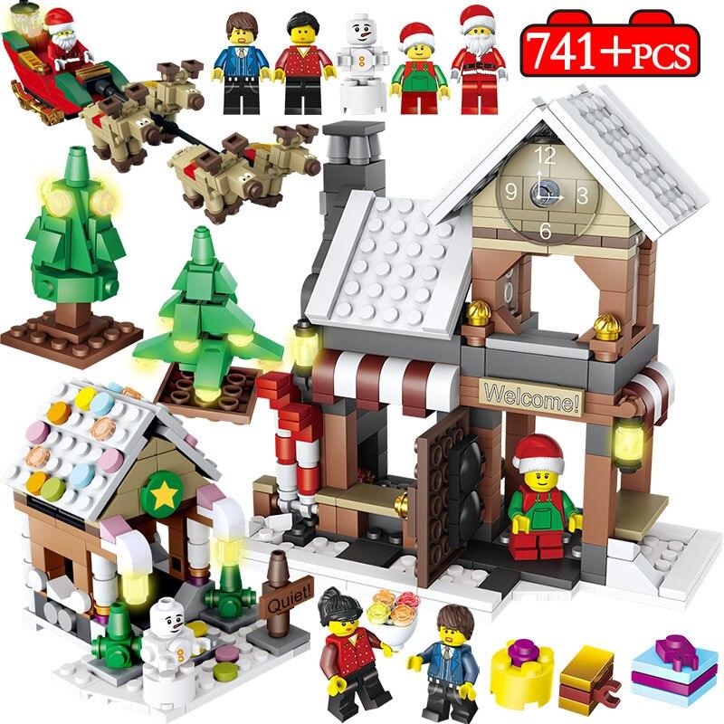 741pcs Winter Village Christmas Tree Snowman Building Blocks Legoingly City Christmas Santa Claus Figures Bricks Kids Toys Gifts