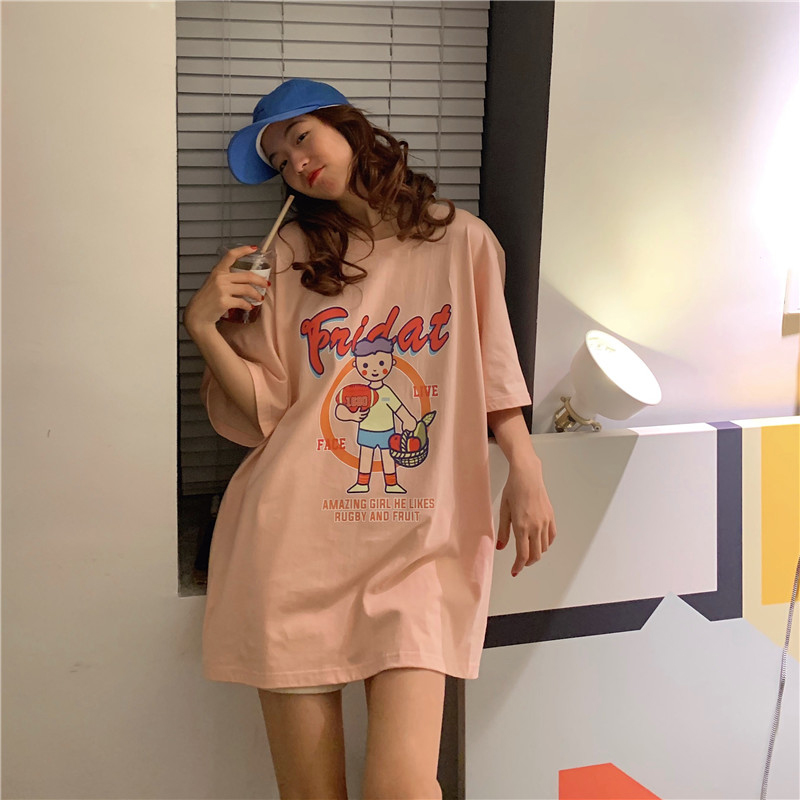 Cartoon Print Summer Long Tshirts Women Casual Kawaii Letter Print Korean Shirts O-Neck Loose Funny Tops Plus Size Cotton W542