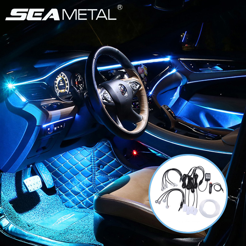 2020 New <font><b>EL</b></font> Neon Wire Strip Light Led Ambient Light With Optical Fiber <font><b>Car</b></font> Interior Atmosphere Light Foot Lamp APP Sound <font><b>Control</b></font> image
