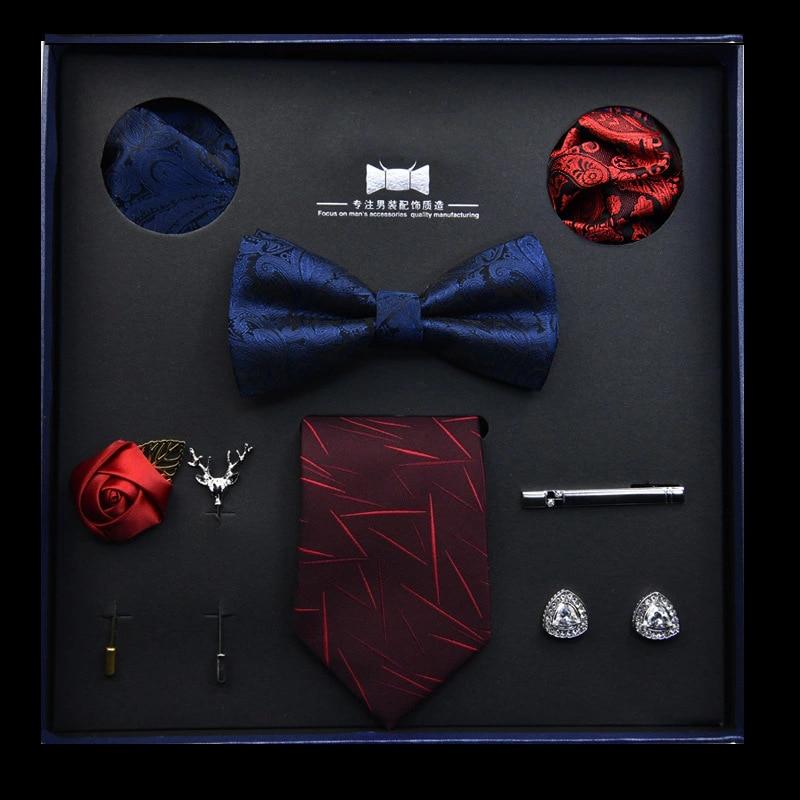 Fashion Men's Suit Accessories Set Wedding Business Tie Bow Tie Square Scarf 8 Pieces Gift Box Boyfriend Birthday Gift