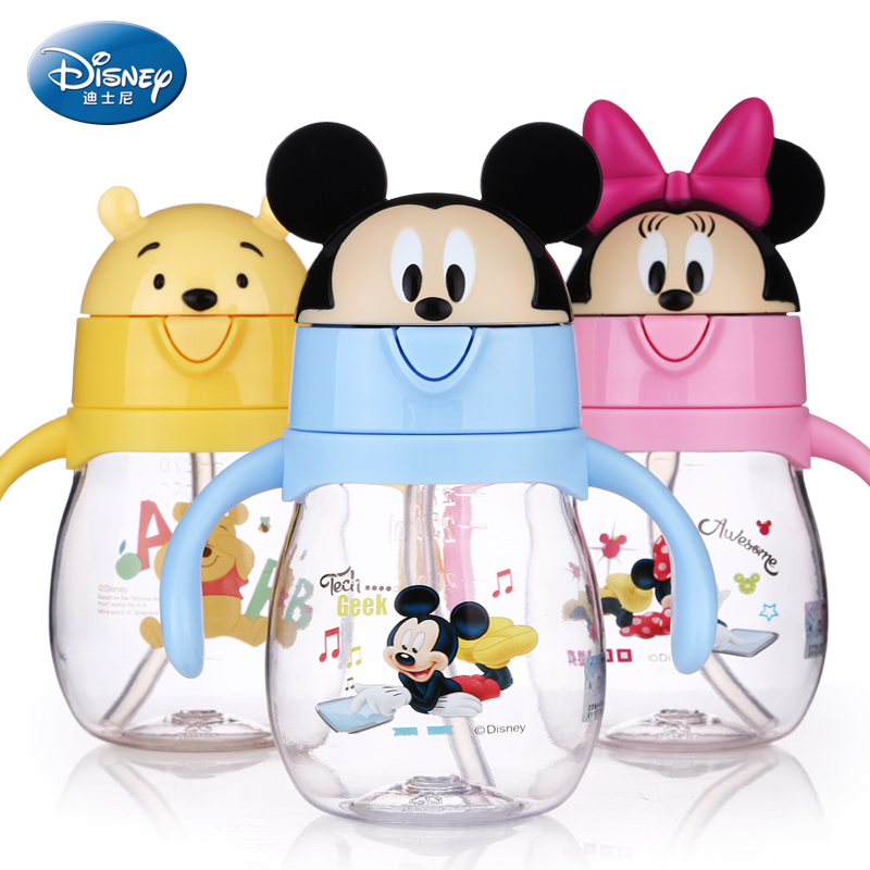 270mL 350mL Mickey Minnie Winnie Princess Cartoon Baby Cup With Handle And Flip Cover  Straw Feeding Bottle Anti-leak Water Cups