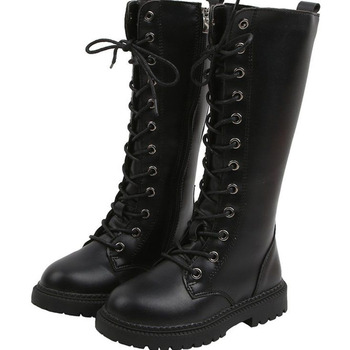 asumer black fashion winter snow boots round toe keep waem knee high boots zip shearling comfortable pu cow leather boots women Girl Knee-High Fashion Boots Cow Muscle Children Boots Round Toe Flat With Spring Autumn Black Leather Children Boots Lace Up