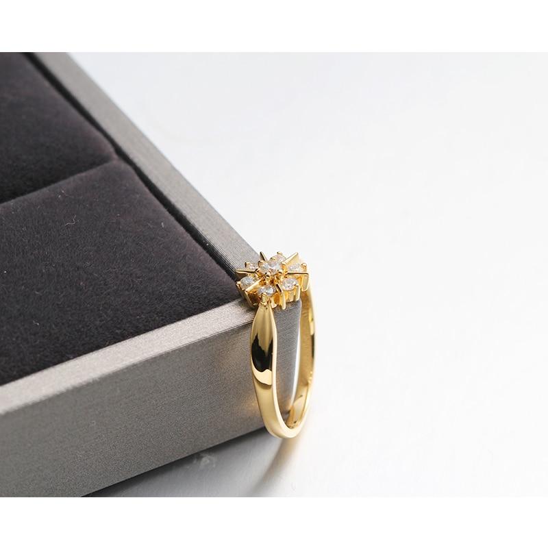 Nouvelle étoile véritable 18K or jaune Charles Colvard Moissanite diamant bague de fiançailles pour les femmes gravure gratuite - 5