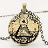 Statement  Retro Symbol Masonic Illuminati Antique Print Illustration Poster Glass Pendant Necklace Fashion Statement Necklace
