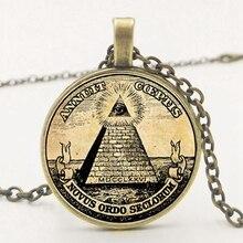Statement  Retro Symbol Masonic Illuminati Antique Print Illustration Poster Glass Pendant Necklace Fashion