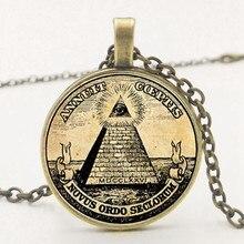 Símbolo retro maçônico illuminati impressão antiga ilustração cartaz de vidro pingente colar moda colar de declaração