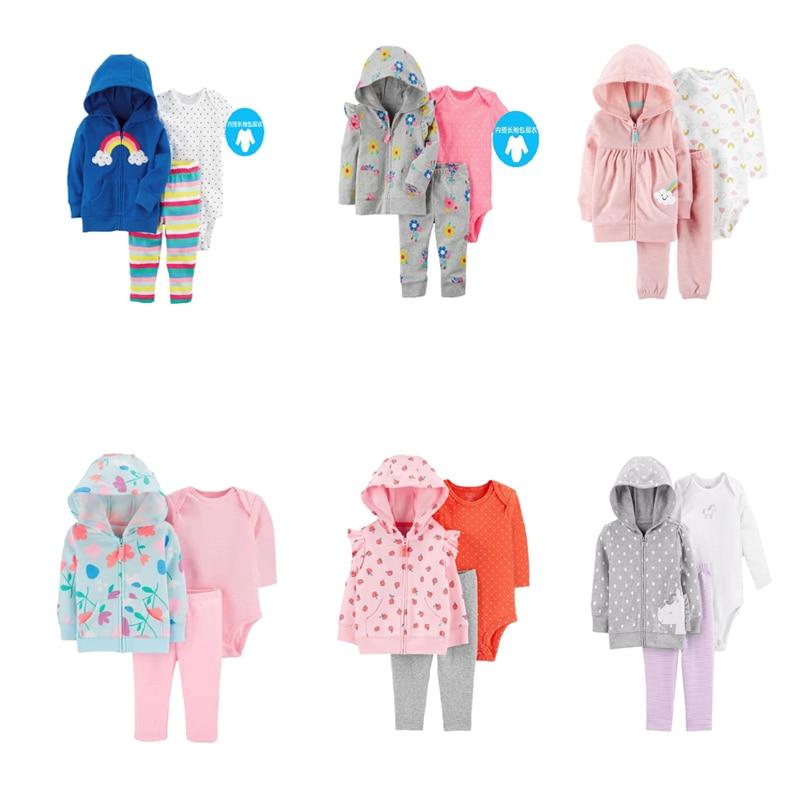 baby clothes long sleeve hoodie jacket+romper+pant boys girls outfits 2020 autumn costume 3pcs unisex newborn clothing set