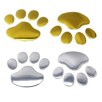 3D Car Silver/Golden ST Window Bumper Body Decal Sticker Bear Cat Dog Paw Foot Print image
