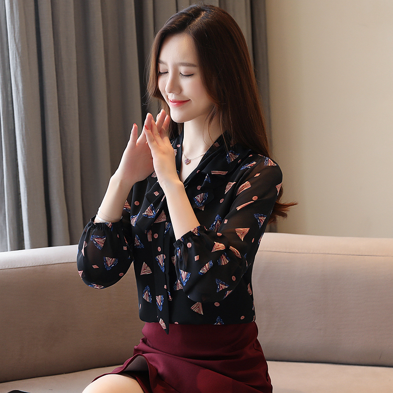 Korean Fashion Chiffon Women Blouses Floral Long Sleeve White Women Shirts Plus Size XXL Blusas Femininas Elegante Ladies Tops in Blouses amp Shirts from Women 39 s Clothing