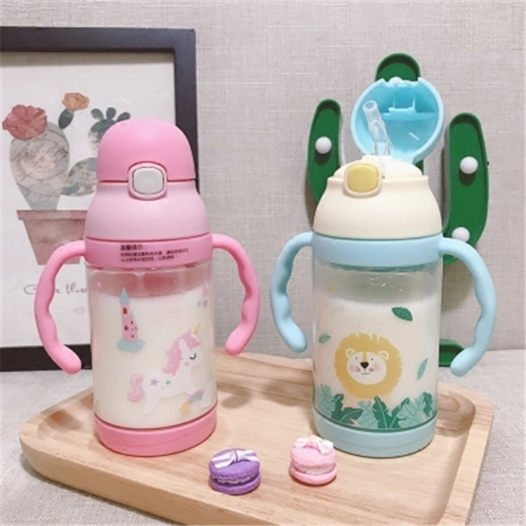 Children Cup With Straw With Handle Summer Dual Purpose Baby Drinking Cup With Straw Kindergarten Learn Drink Shatter-resistant