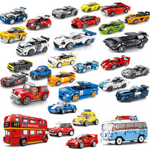 Compatibel Stad Super Ras Auto London Bus F1 Snelheid Champions Bouwstenen Sport Racing Kits Set Grote Voertuig Technic(China)