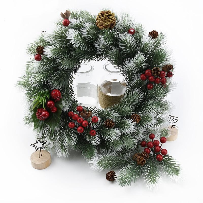 10 шт. снежинки, сосновые иглы, искусственные растения, Рождественские декоративные цветы, венок, подарки для свадьбы, свадебные аксессуары, ...