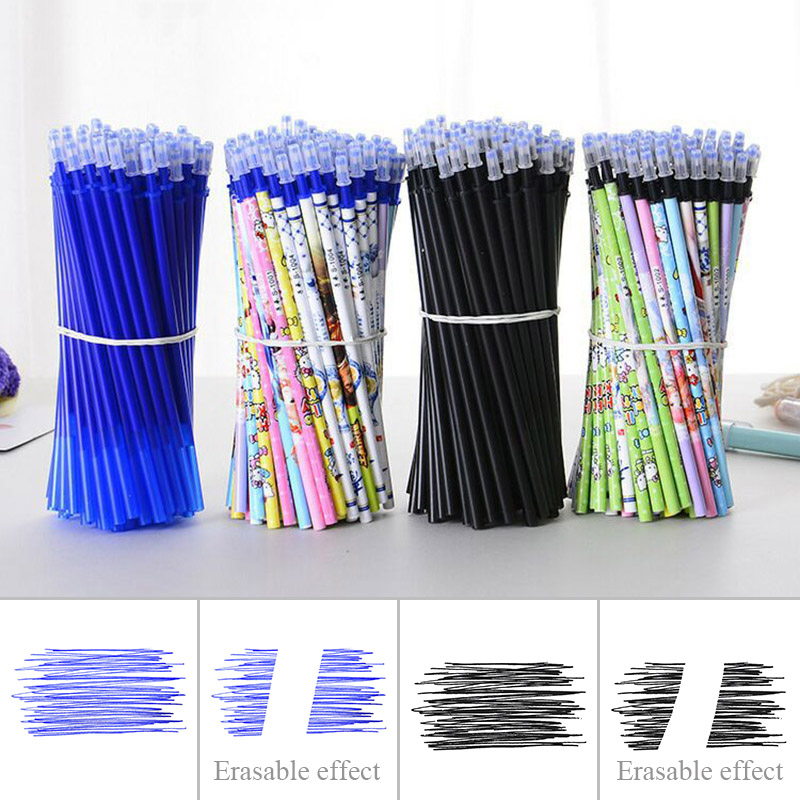10pcs/Lot Transparent Gel Pen Refill 0.5mm Black Blue Erasable Ink Cartoon Refill For Student Writing School Office Stationery