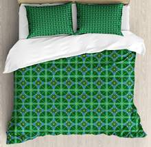 Geometric Duvet Cover Set Diagonal Squares and Streaks Overlapping 3 Piece Bedding Set Sea Green Forest Green(China)
