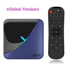A95X F3 مربع التلفزيون الذكية RGB ضوء أندرويد 9.0 Amlogic S905X3 4G 32G 64G واي فاي BT مجموعة صندوق فوقي يوتيوب 8 K 4 K مشغل الوسائط