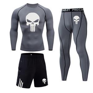 Men Compression set MMA Long Sleeve T-shirt Men's Tight Pants Fitness Bodybuilding Clothes Skull Punisher Rashguard Sport Suit(China)