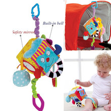 Plush Colorful Cube Baby Rattle Toys Hanging Stroller Crib