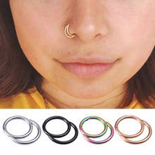 1pc Nose Septum Ring Segment Hinged Clicker Hoop Ear Rings Eyebrow Piercing Lip Stainless Steel Cartilage Tragus Body Jewelry 316l stainless steel segment ring body piercing nipple tragus lip ear nose cartilage septum hoop jewelry