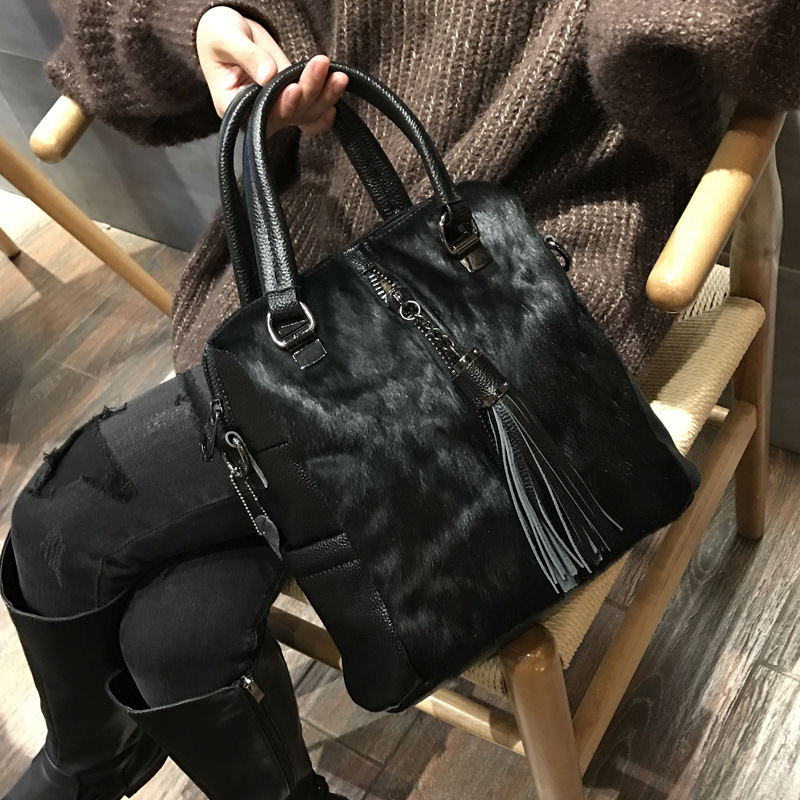 Natural Horse Hair Small Backpack Women Classical Casual Horse Fur Backpack Female Fashion High Quality PU Leather Knapsack  Bag