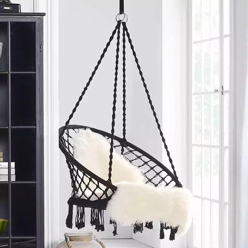 Круглый гамак в скандинавском стиле, подвесное садовое сиденье с кисточками и шнурком для защиты от опрокидывания, для улицы и дома, для дет...