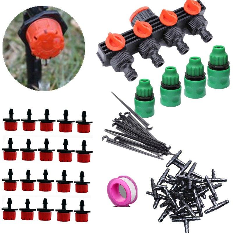 20/30/40/50m 4 Ways Hose Splitter Garden Watering Kits Adjustable Dripper Automatic Watering Drip Fittings|Watering Kits|Home & Garden - title=