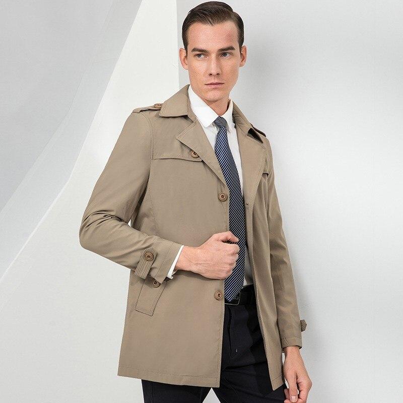 Printemps automne nouvelle marque à manches longues simple boutonnage revers hommes manteaux solides longueur moyenne en vrac décontracté coupe vent mâle Trench manteaux - 5
