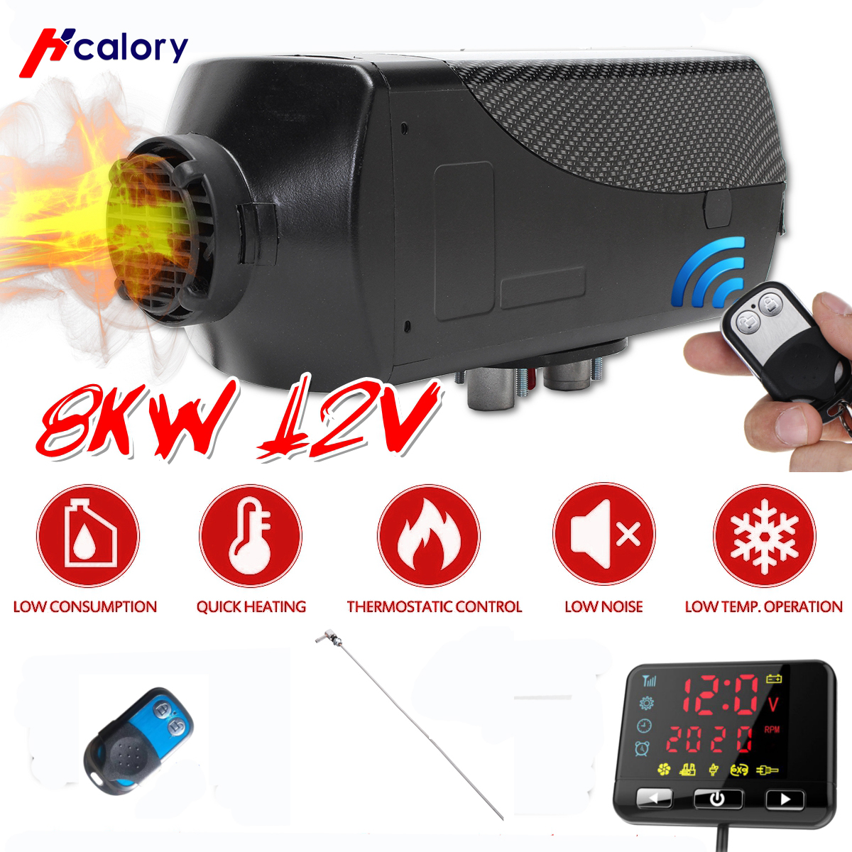 12v 5kw Diesel Air Heater+LCD Switch+Remote+Silencer For Trucks Boat Car Trailer