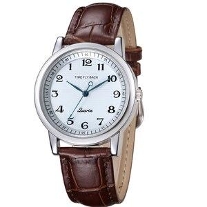 Image 1 - 쿼츠 시계 여성 반 시계 방향 역방향 저울 가죽 비즈니스 방수 시계 패션 반 시계 방향 시계 여성 시계
