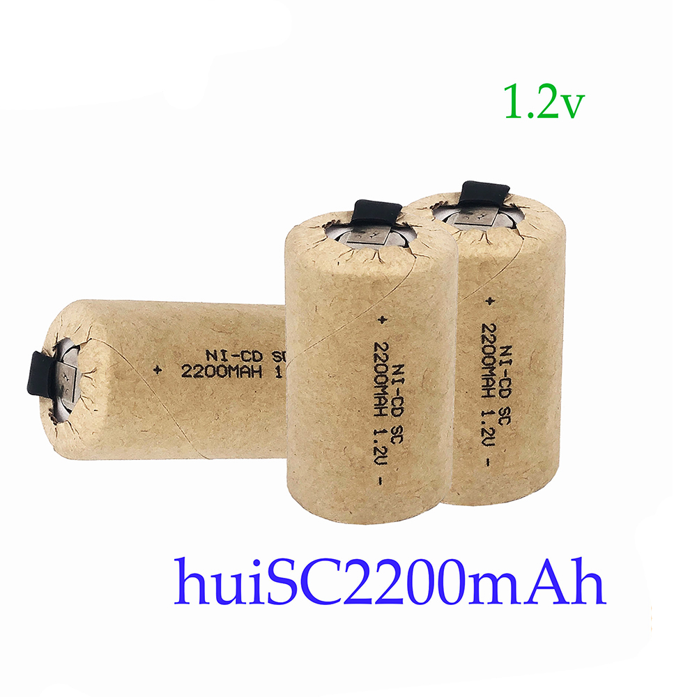 NEWEST Screwdriver Electric Drill SC Batteries 1.2V 2200mah Sub C Ni-Cd Rechargeable Battey With Tab Power Tool NiCd SUBC Cells
