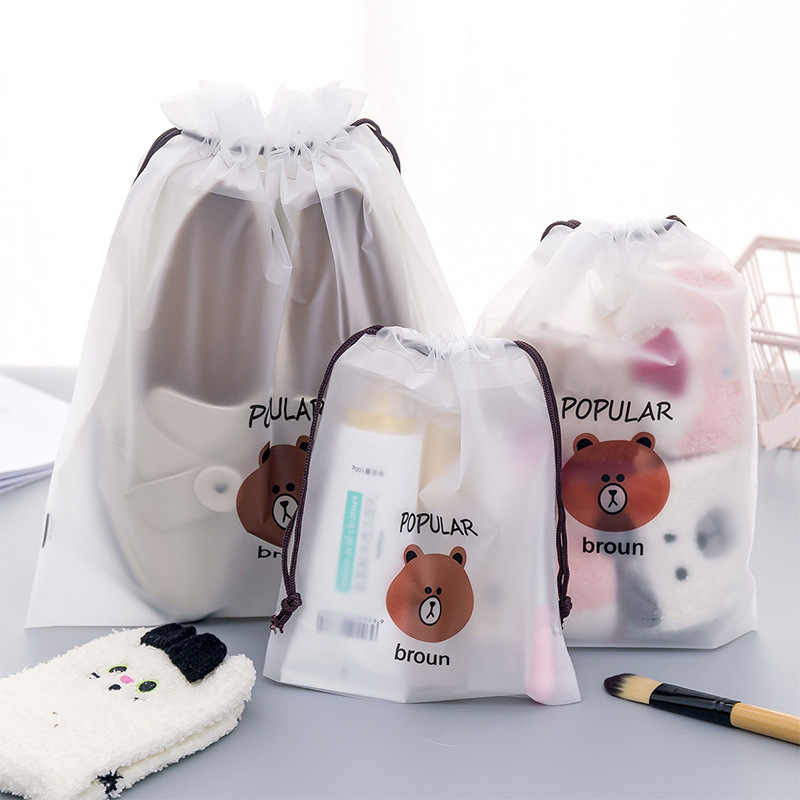 Fashion Cute Cartoon Brown Bear Drawstring Cosmetic Bag Frosted Beam Pocket Dustproof Travel Portable Makeup Case  LMJZ
