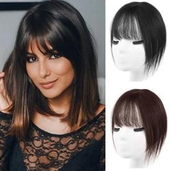 SHANGKE женские 100% человеческие волосы 3D челка для наращивания волос на заколках с бахромой полный охват челка натуральные черные коричневые в...