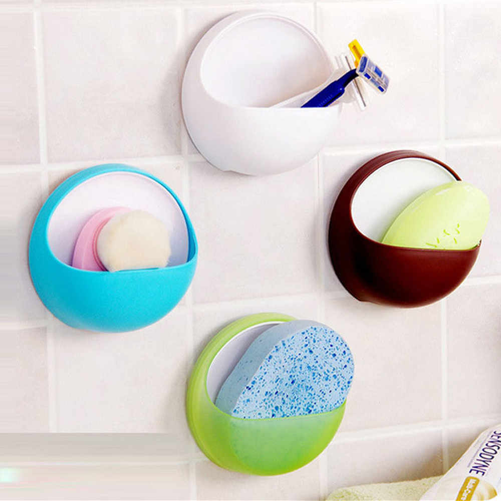 1PC Suction Wall Plastic Suction Cup Soap Toothbrush Box Dish Holder Bathroom Shower Accessory Shelf L*5