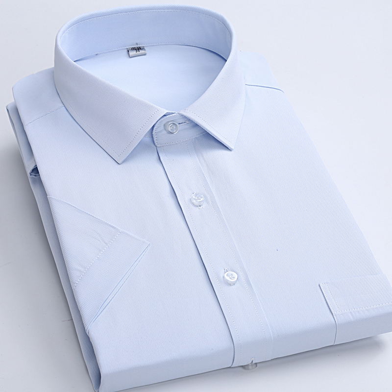 Summer Short Sleeve Men's Twill Solid Dress Shirt Slim Fit Easy Care Plain Striped Formal  Work Shirts For Business