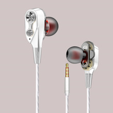 3.5mm Earphones Dual-Dynamic Quad-core Noise Isolation Headset with Mic Subwoofer SP99