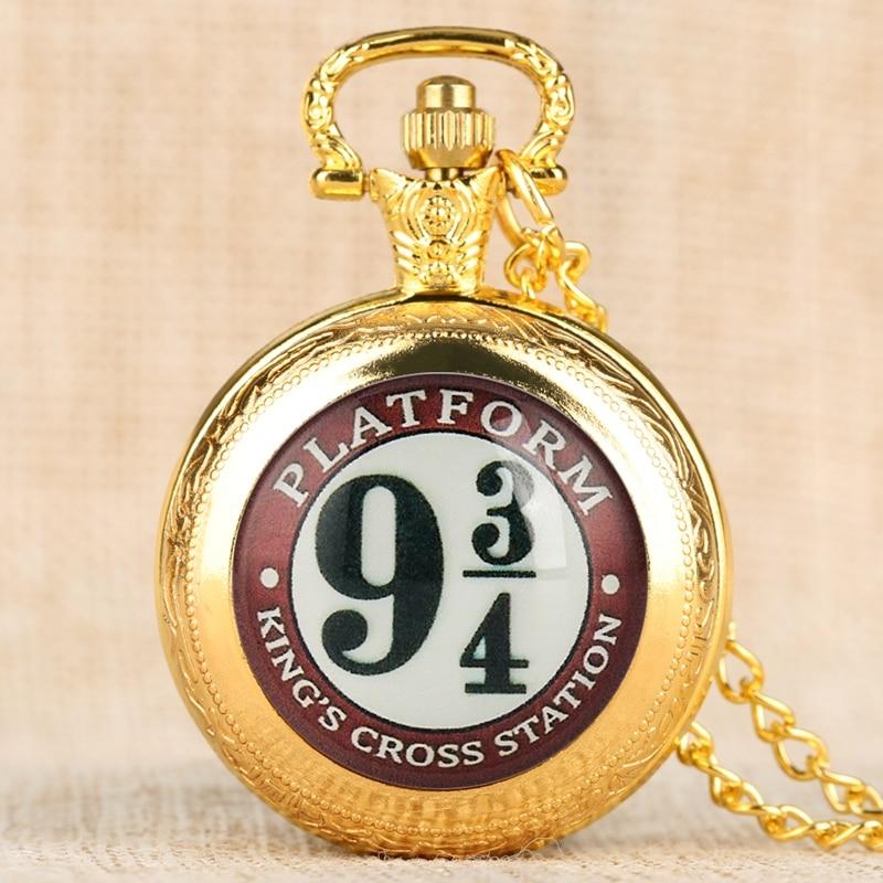 4 Colors! Movie Extension 9 3/4 Platform King's Cross London Quartz Pocket Watch Necklace Pendant Souvenir Gifts For Men Women