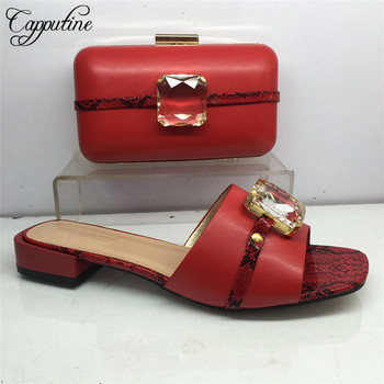 Most fashion red with stones woman slipper shoes matching with purse handbag set for lady GY40, heel height 3cm