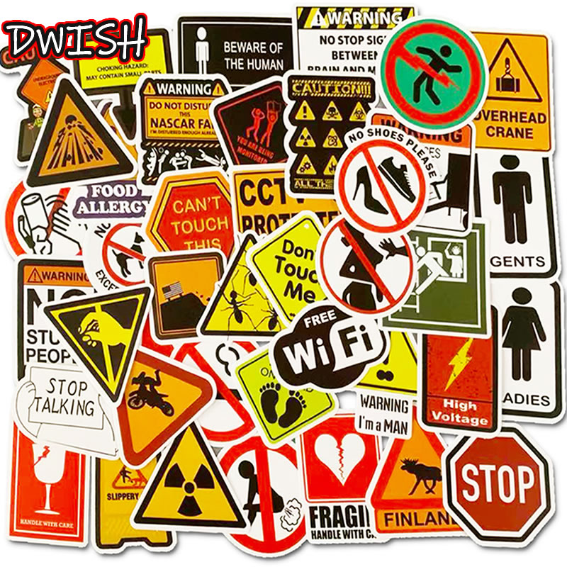 10/30/50pcs Pack Cartoon Waterproof PVC Warn Sign Stickers Skateboard Luggage Motorcycle Guitar Cool Graffiti Sticker Kids Toys