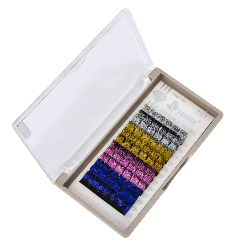Free Shipping 4 Colors Glitter Individual Eyelash Mink Eyelash Extension 0.15 Thickness 12mm 14mm  False Eyelash