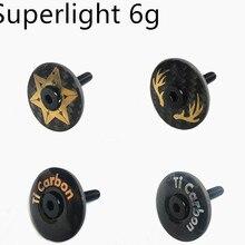 """Superlight 6g велосипедная стебель полностью углеродная верхняя крышка с Ti винтом для 28,6 мм 1 1/"""" Стил вилка трубка Гарнитура Крышка"""