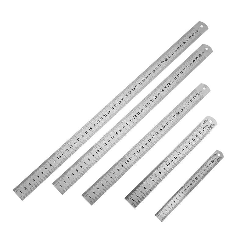 Double Sided Measuring Metal Ruler Stainless Steel Precision Measuring Tool Learning Office Stationery Drafting Accessory