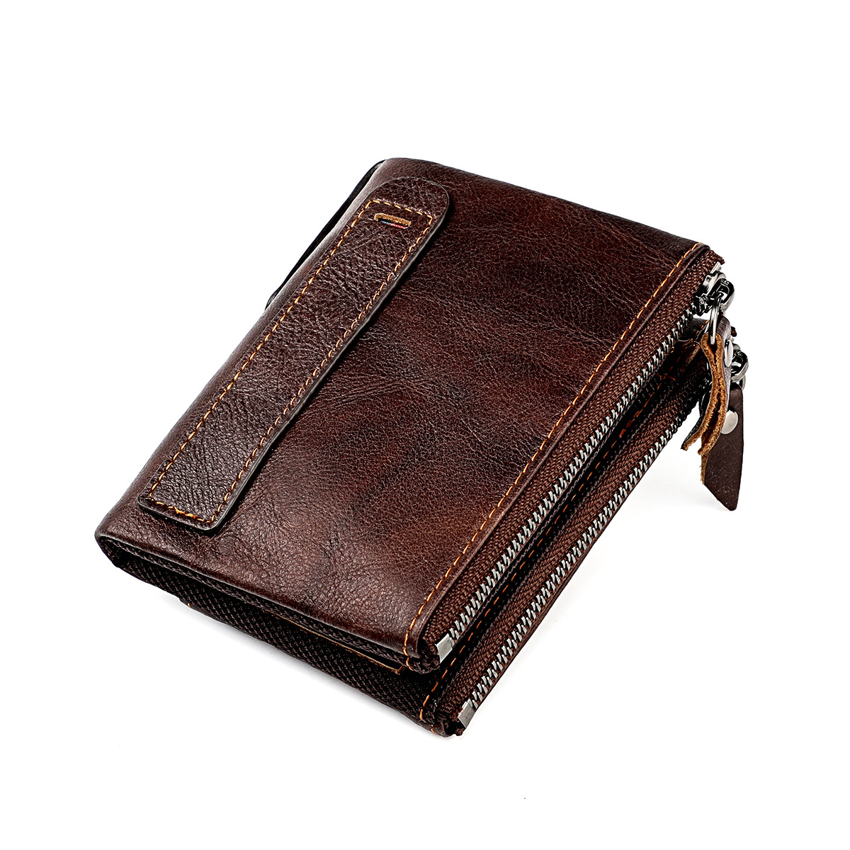 High Quality Genuine Leather Men's Wallet Vintage Wallets for Men Multi-functional Double Zipper Coin Purse RFID Card Holder New
