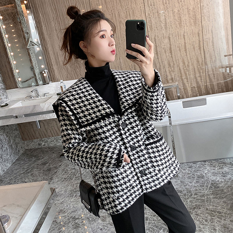 New woolen jacket for fall / winter 2020 women Navy collar Xiaoxiang style extra heavy coat