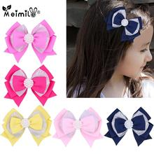3.7 Inches /4.5inches Solid Hair Bows for Girls Clips Ribbon Bows Hairpins Christmas Children Headwear pearl Hair Accessories 1pc ribbon bows girls hairpins hair accessories kids hair clips hair bows children headwear pin dress accessories ties hair clip