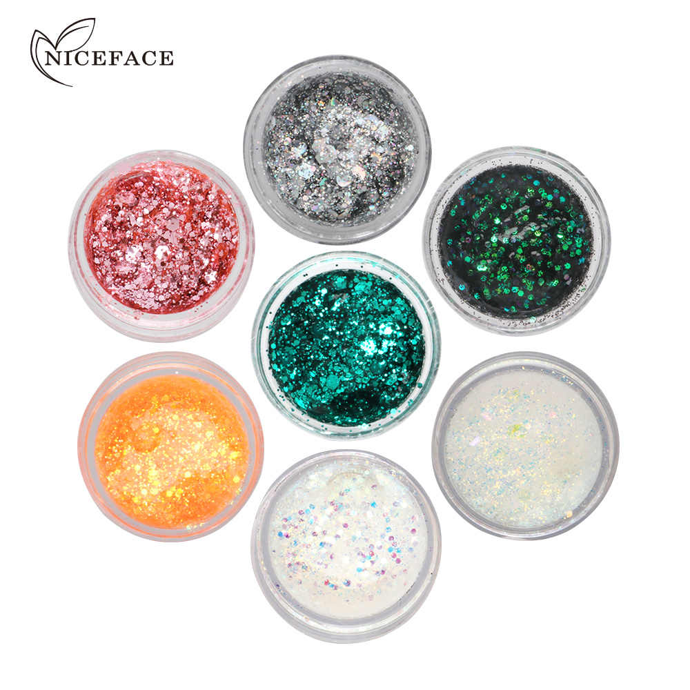 QIBEST Jelly Glitter Gel Facial Hoogtepunt 7 Kleuren Oogschaduw Parelmoer Pailletten Make Glow Kit Gezicht Contour Hoogtepunt TSLM1