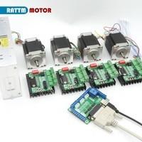 5 axis breakout board CNC Controller kit 4pcs Nema23 76mm stepper motor(Dual shaft)&TB6560 MD430 single axis driver